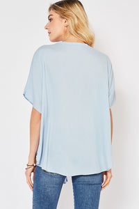 Powder Blue Button-Up Top