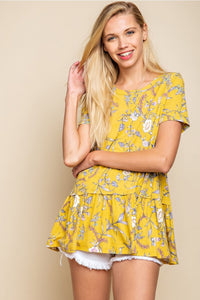 Mustard Floral Knit Top