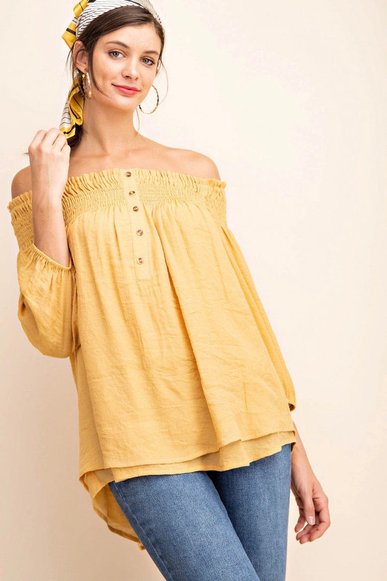 Mustard Off Shoulder Top