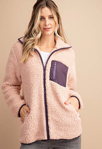 Blush & Plum Zip Up Jacket