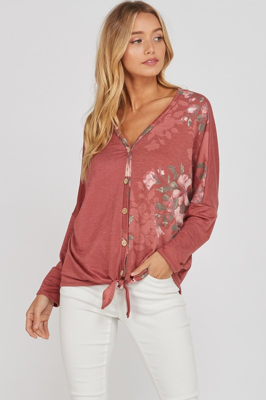 Floral Front Tie Button Down Top