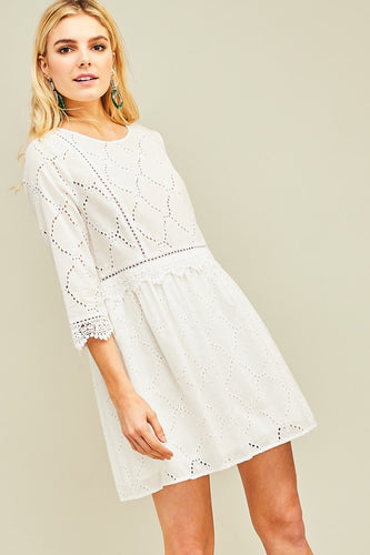 White Crochet & Lace Dress