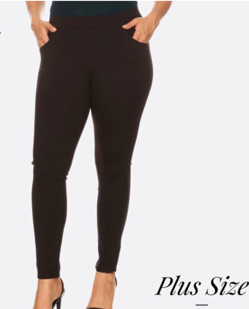 Black Plus Size Slim Knit Pants