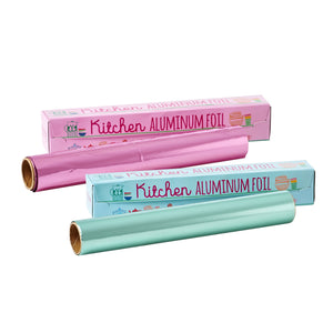 Pink and blue aluminum foil