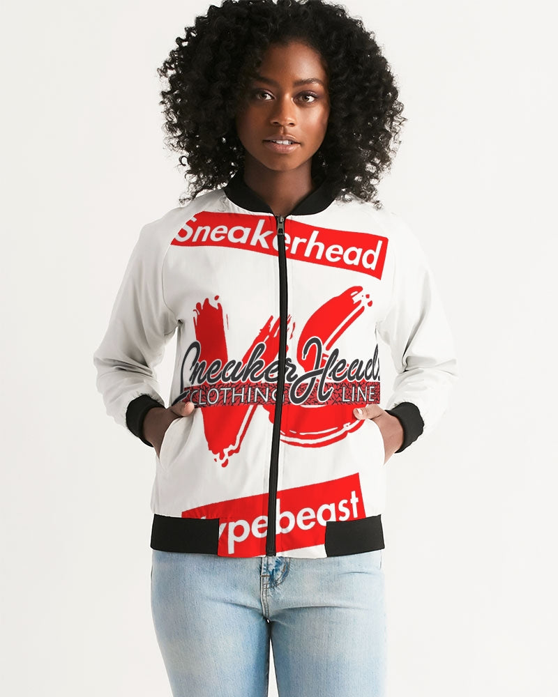 "Women's ""Sneakerhead vs Hypebeast"" Bomber Jacket - SNEAKERHEADS Clothing Line"