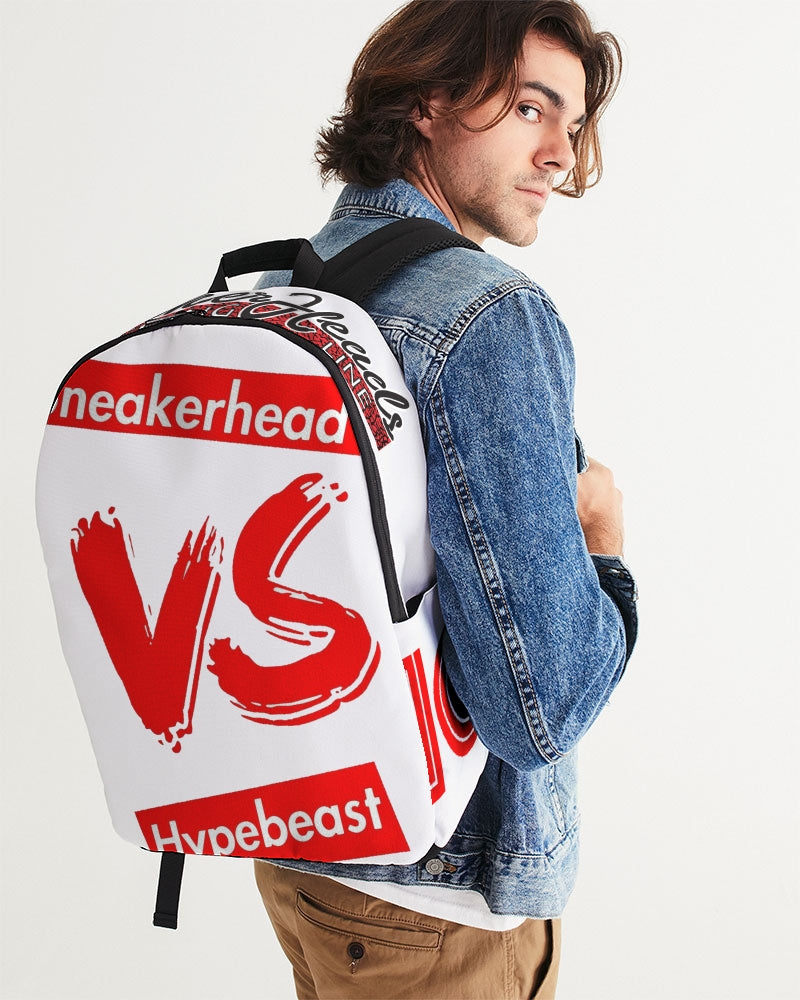 "Exclusive ""Sneakerhead vs Hypebeast"" Large Backpack - SNEAKERHEADS Clothing Line"