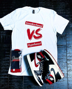 EXCLUSIVE SNEAKERHEAD vs HYPEBEAST LE Tshirt (White) - SNEAKERHEADS CLOTHING LINE