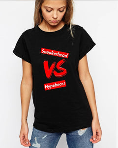 Womens Exclusive SNEAKERHEAD vs HYPEBEAST Slim-Fit Shirt - SNEAKERHEADS Clothing Line