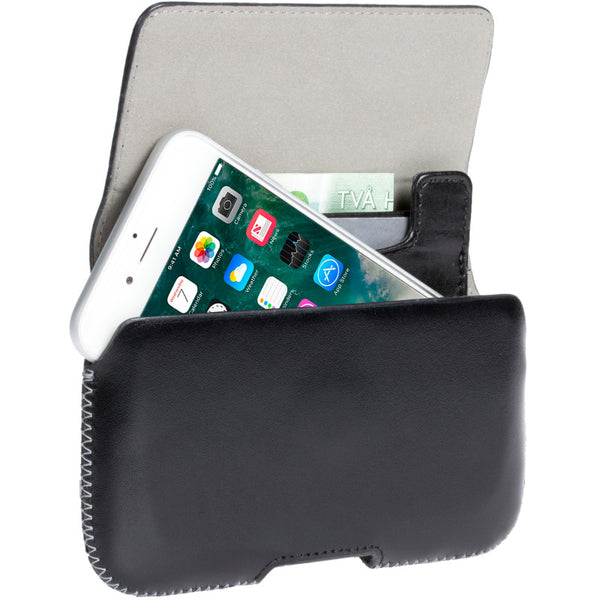 Belt loop case in black leather with card pockets (Hector Plus)