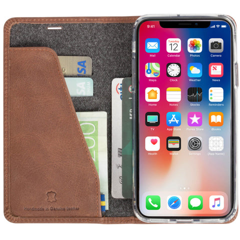 iPhone X Flip Case Genuine Leather 4 Pockets (Sunne 4 Card FolioCase)