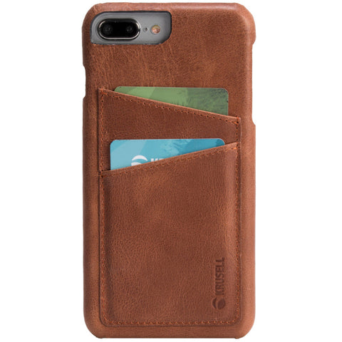 iPhone 7 Plus & 8 Plus Cover in Genuine Leather with 2 Pockets ( Sunne 2 Card Cover)