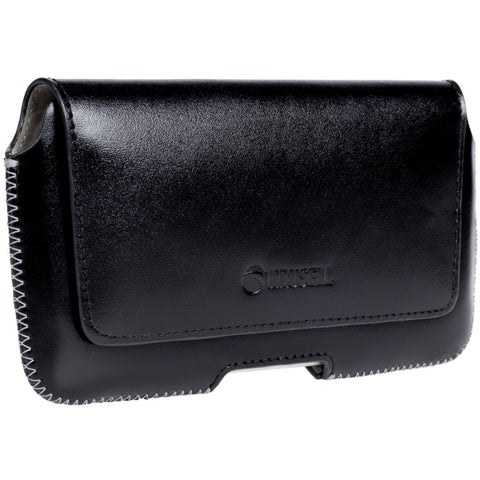Belt loop case in black leather for all phone models (Hector)