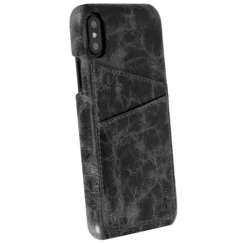 iPhone X : Vintage Leather cover 2 Pockets (Tumba)