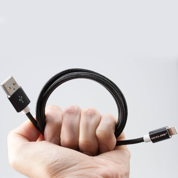 USB cable to iOs-USB, strong and nice braided cable in black nylon