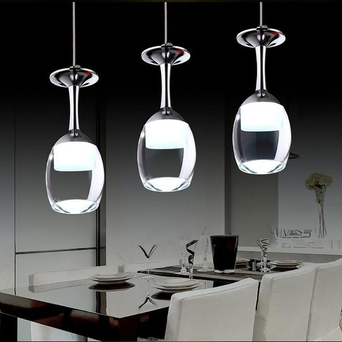 Modern wine glass pendant lights