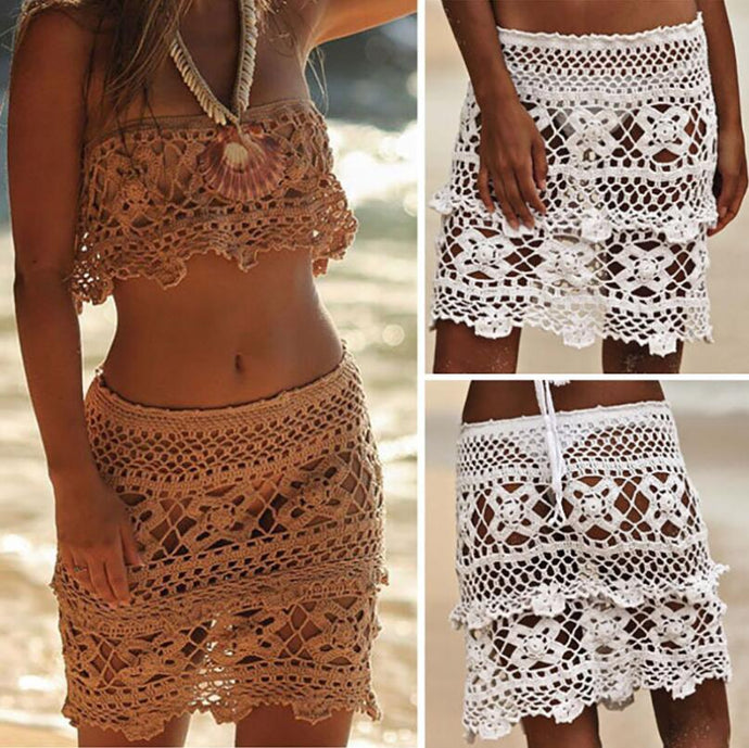 2018 Sexy Beach Lace Knitted Short Cover Ups
