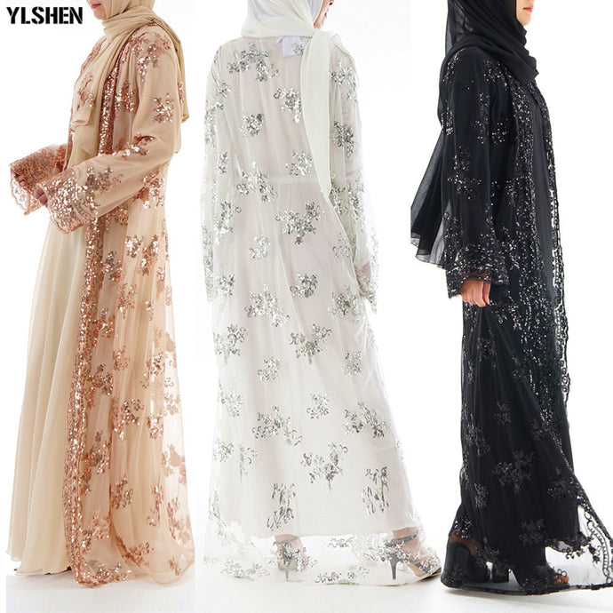 Luxury Sequins Embroidery Lace Kaftan