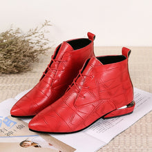 Leather Low Heels Pointed Toe Rubber Ankle Boots