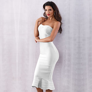 Elegant Bandage Strapless Ladies Dresses
