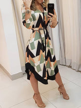 Stylish Leisure Slimming Colorblocked Geo Print Asymmetrical Dress