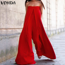 2019 VONDA Wide Leg Rompers Women Jumpsuits