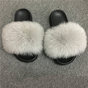 Real Fur  Rainbow Slippers