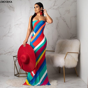 Colorful Stripes Strapless Mermaid Maxi Dress