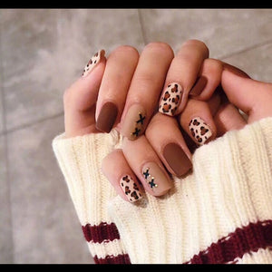 24 pieces  Leopard Print Frosted 3D Long Nails with Glue