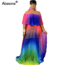 Rainbow Tie Dye Print Pleated Long Midi Maxi Dress