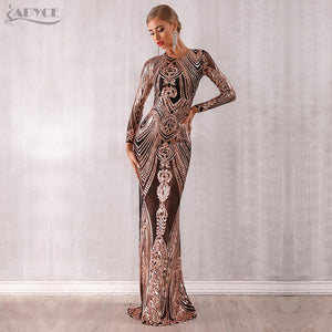 Adyce 2019 New Arrival Sexy Women Elegant Celebrity Evening Party Dress Sexy Sequined Long Sleeve Mesh Runway Club Dress Vestido