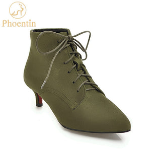 Army Green Lace Up Pointed Toe Thin Med Heels Boots