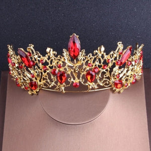 Vintage Gold Red Crystal Rhinestone,  Crown Choker, Necklace Earrings Set