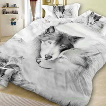 Bedding Set Three Piece High Quality Quilt Cover Wolf Head Pillow Case