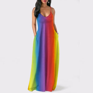 Bohemian Strap Pockets Rainbow Print Loose Summer Dresses