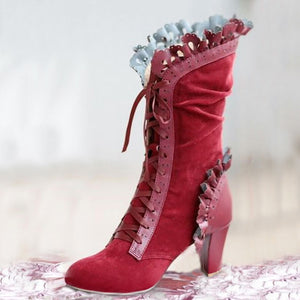 Gothic High Heel Punk Lace up Boots