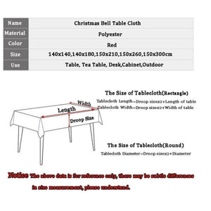 Christmas Bell 3D Printed Pattern Rectangular Tablecloths