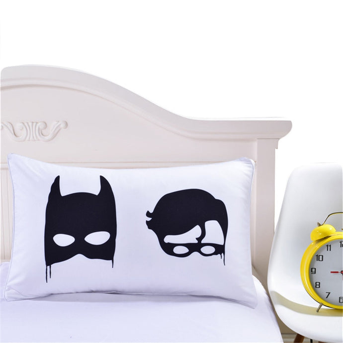 Creative Cool Black Batman Decorative White Pillow Case