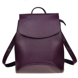 High Quality Black Leather Bagpack