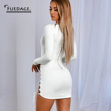 Suede Lace Up Bandage Dress White V Neck Long Sleeve Dresses