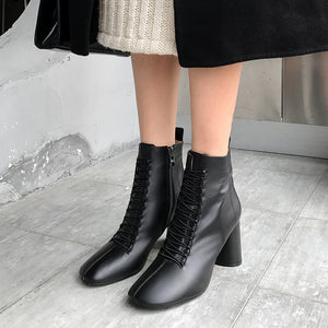 INS HOT women Ankle boots Genuine Leather 22-26.5 cm feet length boots for women Pointed toe Chelsea boots high heel boots