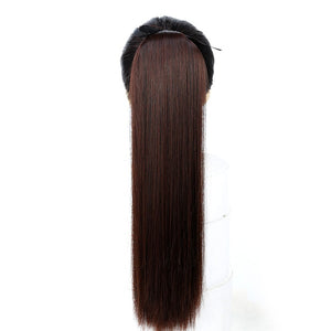 JINKAILI Long Straight Clip In Hair False Hair Ponytail Wig with Hairpins Hair Pony Tail Heat Resistant Synthetic Hair Extension