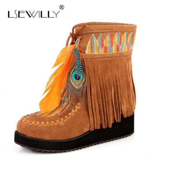 Lsewilly Indian Style Retro Fringe Flock Chunky Feather Women Ankle Short Boots