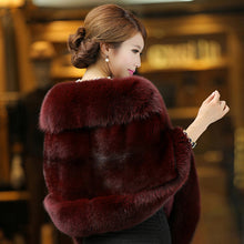 Faux Mink Cashmere Fur Coat Shawl Cape
