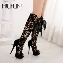 NIUFUNI 2019 Hollow Stiletto Boots Women's Shoes Peep Toe High Heels Cool Boots Sexy Nightclub Shoes Woman Knee-High Boot