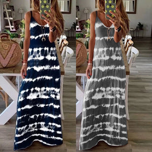 New Women's Beach Casual Long Dresses Summer Clothing Sexy Spaghetti Strap Stripes Print Dress Blue Grey Tunic Plus Size S-5xl