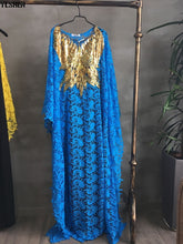 Dashiki Water-soluble lace loose long dresses with beaded embroidery