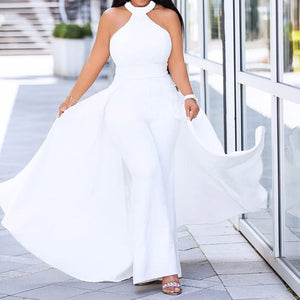 Off Shoulder Sexy  White with Swallowtail Wide Leg Jumpsuits