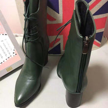Green Plush Ankle Metal Zipper Leather Boots