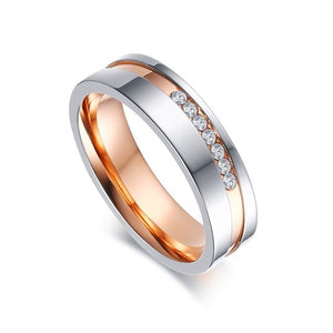Rose Gold Color Wave One Row Crystal Wedding Rings