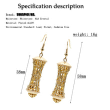 Indian Hollow Pillars Gold Drop Earrings
